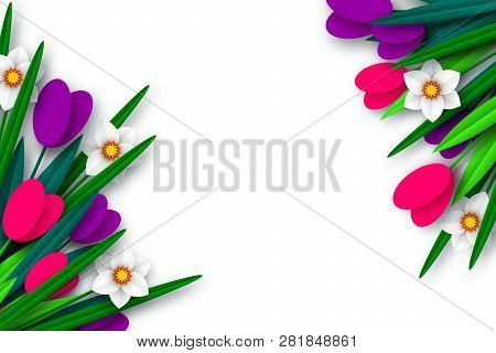 Spring Floral Composition. Empty Template For Greetings Or Seasonal Sales. Paper Cut Spring Flowers