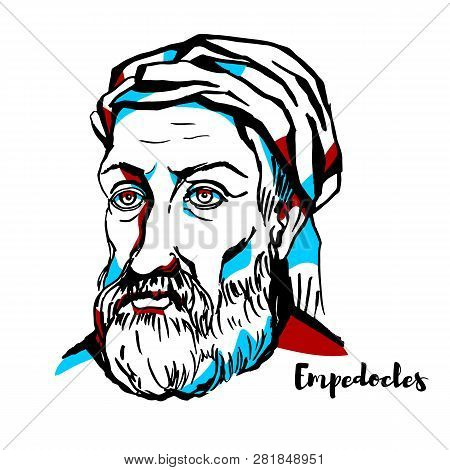 Empedocles Engraved Vector Portrait With Ink Contours.  Greek Pre-socratic Philosopher And A Citizen