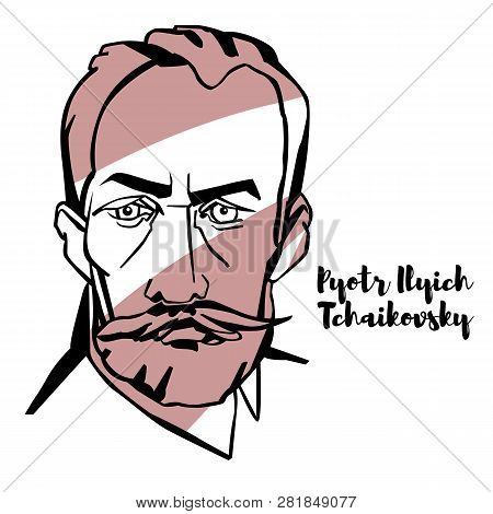 Pyotr Ilyich Tchaikovsky Engraved Vector Portrait With Ink Contours. Russian Composer Of The Romanti