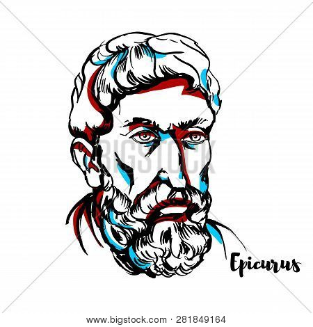 Epicurus Engraved Vector Portrait With Ink Contours. Ancient Greek Philosopher Who Founded A Highly