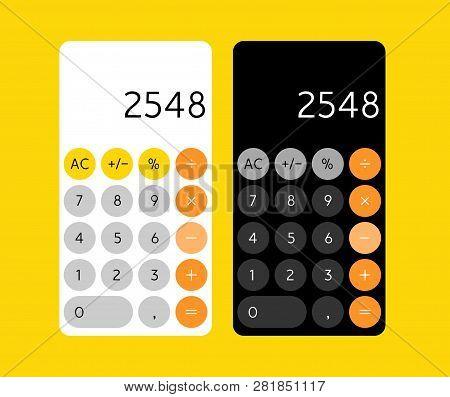 Smartphone Calculator App Interface. Mobile Calculator Design Screen Concept For Device.
