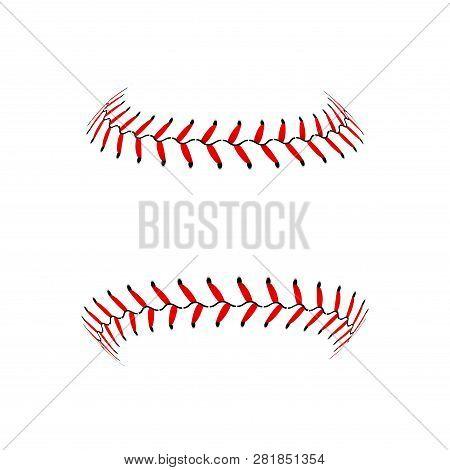 Baseball Lace Ball Illustration Isolated Symbol. Vector Baseball Background Sport Design.