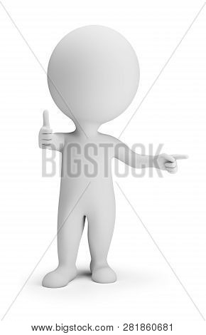 3d Small Person In Pointing Pose And Showing That It Is Cool. 3d Image. White Background.