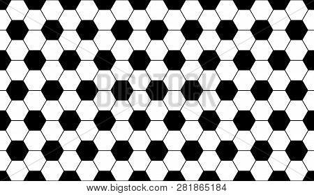 Seamless Soccer Football Hexagon Background Black Texture. Vector Soccer Backdrop Sport Concept.