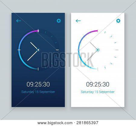 Clock Mobile App Concept Ui Design Day And Night. Clock User Interface Time Vector Widget Design Mod