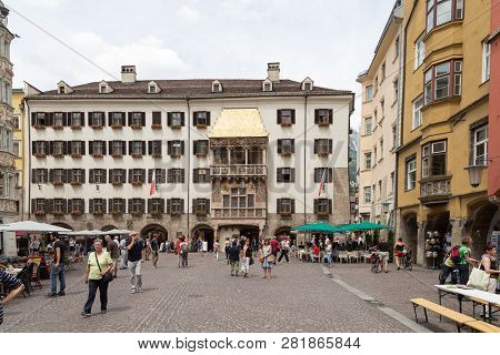 Innsbruck, Austria - June 8, 2018: People On The Square At The Famous Golden Roof In The Historical