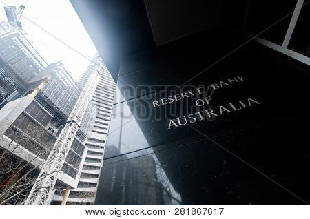 Melbourne, Australia - July 26, 2018: Reserve Bank Of Australia Name On Black Granite Wall In Melbou