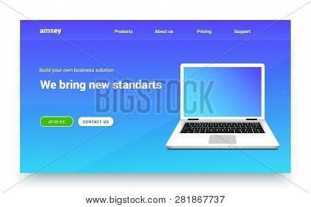 Landing Page Vector Laptop Website. Web Design Landing Page App Template.