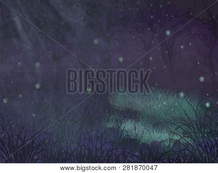 Enchanted Forest Copy Space. Enchanted Forest Copy Space Vector Background For Text. Violet Enchante