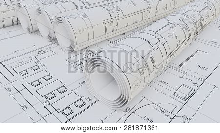 Architectural Drawings. Flat And Rolled. 3d Rendering
