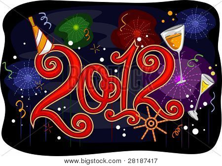 New Year Themed Illustration Featuring Colorful Fireworks