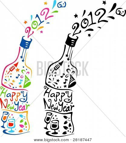 Illustration of Bottles Decorated with New Year Elements