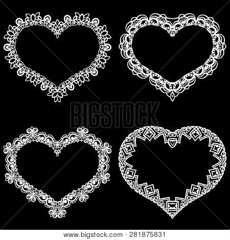Laser Cut Frame In The Shape Of A Heart With Lace Border.  A Set Of The Foundations For Paper Doily