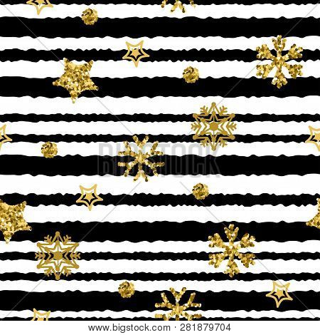 A Gold Snowflake Pattern Stripe. Christmas Seamless