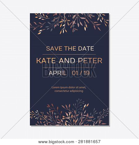 Wedding Invitation. Copper Elegant Floral Invite, Modern Card In Copper Leaf Greenery Branches Decor