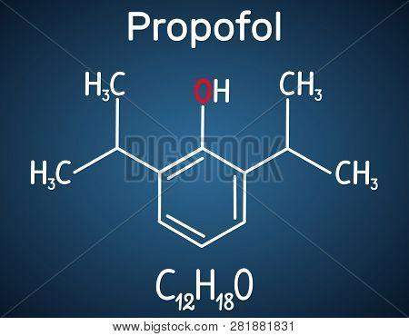 Propofol Anesthetic Drug Molecule. Structural Chemical Formula On The Dark Blue Background. Vector I