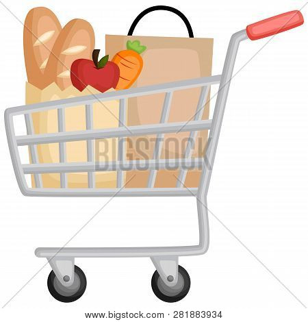 A Shopping Cart Full Of Grocery And Stuff