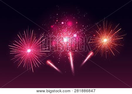 Bright Festive Colorful Fireworks Set. Vector Realistic Fireworks Illustration. New Year Christmas F