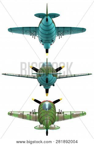 3d Model Of An Stylized Cartoon Oldschool Single Engine Fighter Aircraft. Back View. Isolated On Whi