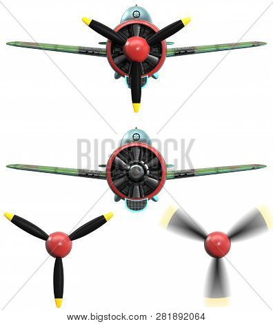 3d Model Of An Stylized Cartoon Oldschool Single Engine Fighter Aircraft. Front View. Isolated On Wh