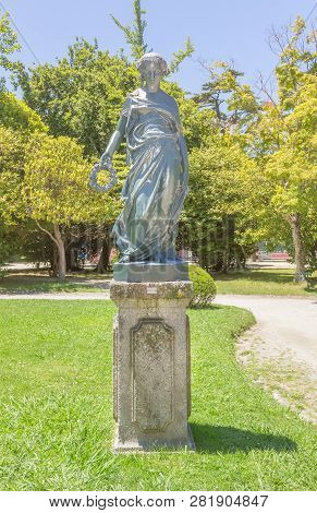 Porto, Portugal - June 16, 2018:  Sculpture In The Cristal Palace Gardens Or Jardins Do Palaio De Cr