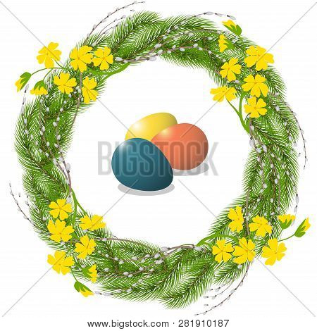 Easter Wreath Of Pine And Willow With Flowers