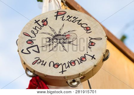 Avetrana, Italy - June 16,2018 Tambourine For Pizzica, National Musical Instrument, Salento Apulia I
