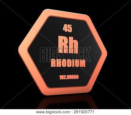 Rhodium Chemical Element Periodic Table Symbol 3d Render