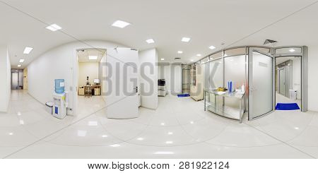 Panorama Of The Corridor In A Medical Facility In 360 Degrees. Panoramic Shot Of 360 Degrees Of The