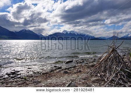 View From The Shoreline Of Lake Wakatipu, South Island, New Zealand