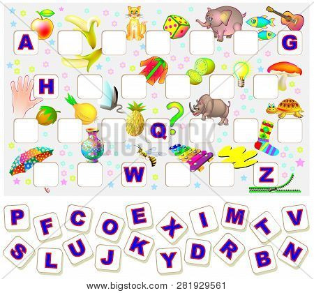 Worksheet For Children With Exercise For Study English Alphabet. Find The Missing Letters And Write