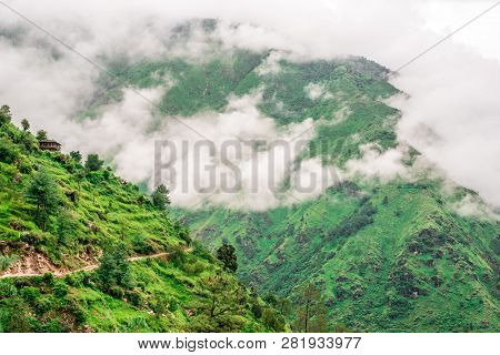 Tropical Mountain Range View. Timelapse Of Moving Clouds And Fog Over Himalayan Mountain Range In Sa