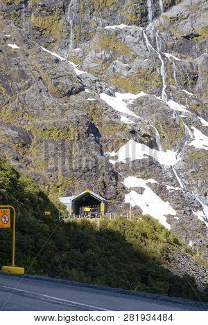 Homer Tunnel Entrance On State Highway 94, The Road To Milford Sound In New Zealands Fjordland Natio