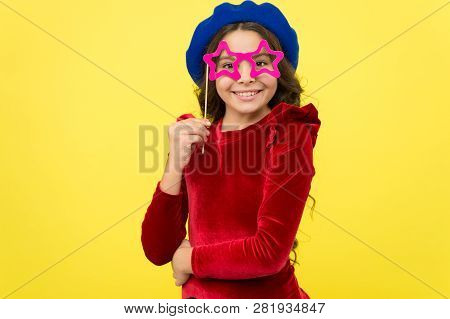 Kid Girl Cheerful Posing With Eyeglasses Party Attribute. Lets Have Fun. Party Accessories Concept.