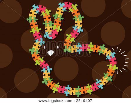 Colorful Jigsaw Bunny Frame (Vector)