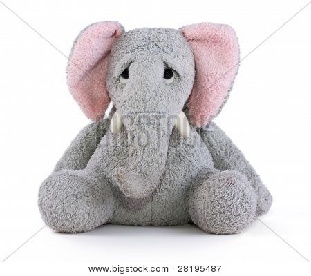 Sad elephant soft toy with pink ears poster