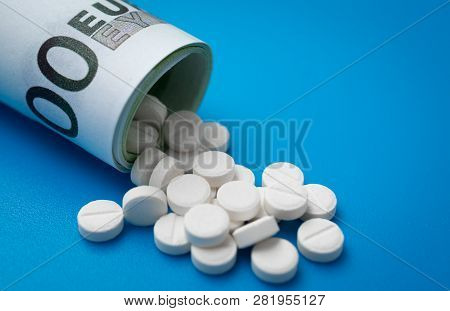 White Pills Rolled Up Euro Banknotes Treatment Cost Abstract