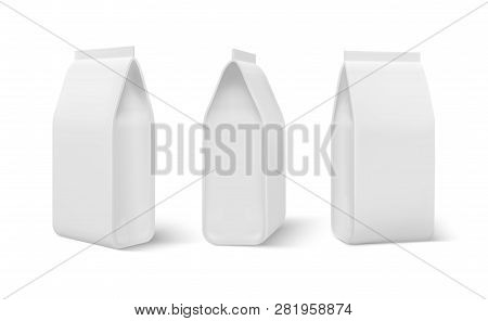 Realistic Doy Pack. Food Bag Mockup, Dogs Meal Blank Packaging, Coffee Snacks Pouch. Blank Doy Vecto