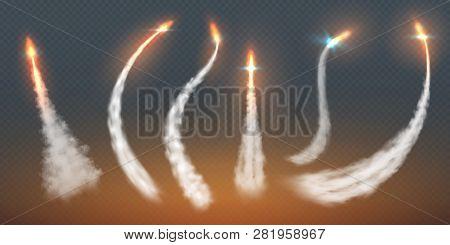 Rocket Condensation Trails. Fire Jet Steam Effect Airplane Flight Lines Fly Smoke Fire Burst. Aircra