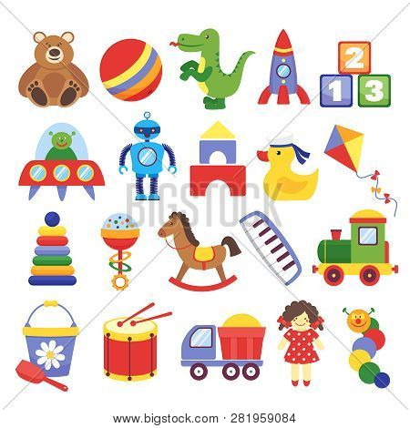 Cartoon Toys. Game Toy Teddy Bear Dinosaur Rocket Childrens Cubes Kite Robot. Kids Dolls Vector Coll