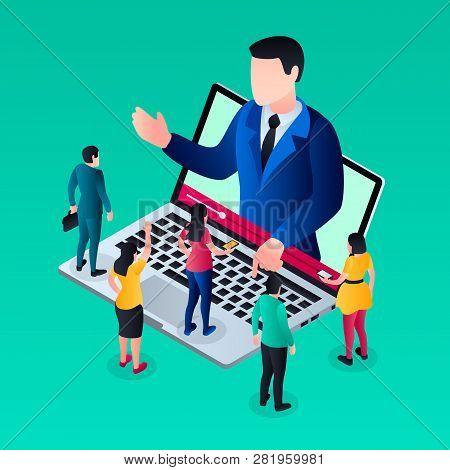 Online Video Webinar Concept Background. Isometric Illustration Of Online Video Webinar Vector Conce
