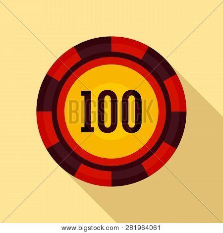 Casino Chip 100 Icon. Flat Illustration Of Casino Chip 100 Vector Icon For Web Design