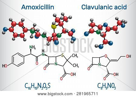 Amoxicillin And Clavulanic Acid Drug Molecule. Combination Is An Antibiotic Useful For The Treatment