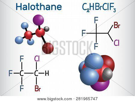 Halothane General Anesthetic Drug Molecule. Structural Chemical Formula And Molecule Model. Vector I