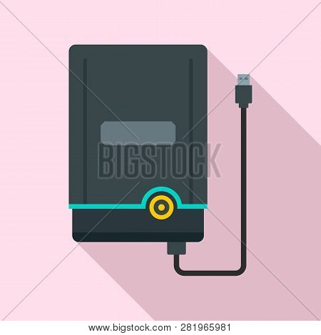 Portable Hard Disk Icon. Flat Illustration Of Portable Hard Disk Vector Icon For Web Design