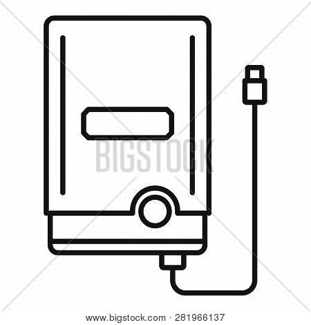 Portable Hard Disk Icon. Outline Portable Hard Disk Vector Icon For Web Design Isolated On White Bac