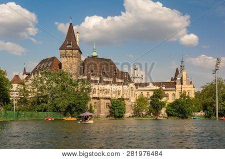 Budapest, Hungary - August 7, 2018: Lake Near Vajdahunyad Castle. Budapest Vajdahunyad Castle - One