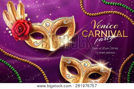 Mardi Gras Carnival Invite With Mask And Beads. Background For Venetian Masquerade Flyer With Rose F