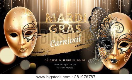 Golden Carnival Mask With Butterfly For Mardi Gras Banner. Fat Tuesday Flyer Or Background For Card