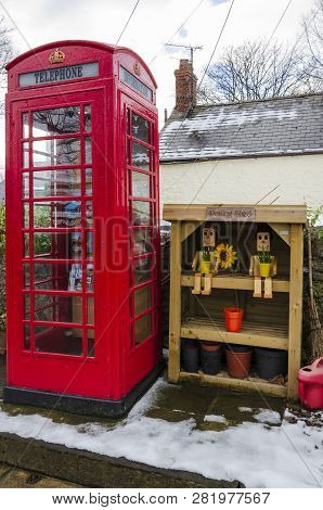 February 2, 2019 Tremeirchion, Uk. A Traditional British Telephone Box Has Been Repurposed As A Tour